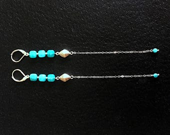 Amazonite and Sterling Drop Earrings