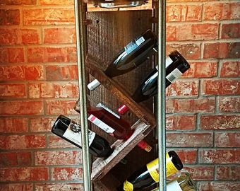 Rustic industrial wine rack