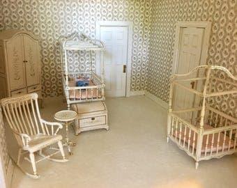 BESPAQ Vintage Dollhouse Nursery Set