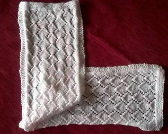 Baby 80 x 19 cm white rose handmade Scarf - knitting-lili