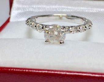 Round 1.15CT Diamond Engagament Ring l 14KT White Gold Diamond Ring l Engagament Ring