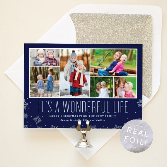 Photo Gallery Christmas Card, It's a Wonderful Life Holiday Cards, Multi Photo Cards with Silver Foil, Christmas Photo Cards for Kids