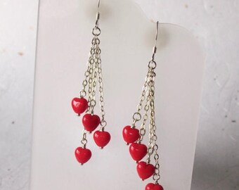 Summer Sale Red Heart Sterling Chain Dangle earrings, Perfect Valentines Gift, Opaque Red Hearts, Swingy and Colorful