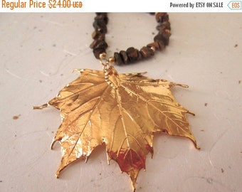Summer Sale Gold Maple Leaf Statement Pendant, Upcycled, Tiger Eye with Gold Spacers, Wood bead, Brown and Gold Statement Necklace, OOAK, Bo