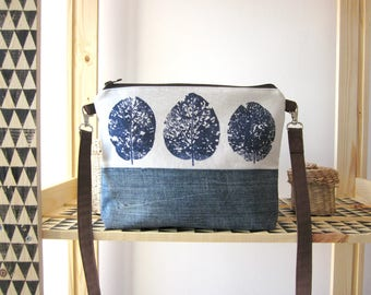 Leaves Crossbody bag, Hand printed bag, vegan bag, medium size handbag, Everyday bag, blue handbag, Denim bag