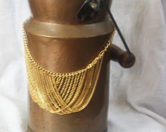 Vintage Gold Tone Multi Strand Necklace