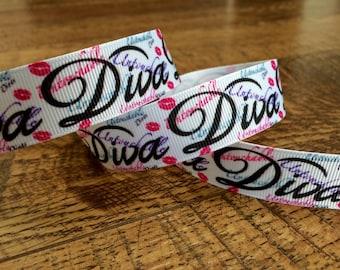 5 yards 7/8 white Diva ribbon. diva ribbon, diva hairbows, diva grosgrain ribbon, craft, crafting, sewing, girls diva ribbon