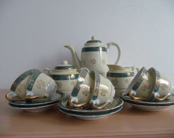 Antique Porcelain Celeste  Bleu Beautiful Coffee Espresso Servise Set