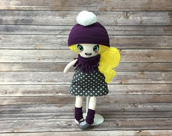 """Doll 15 """", gray and purple, gift for girl"""