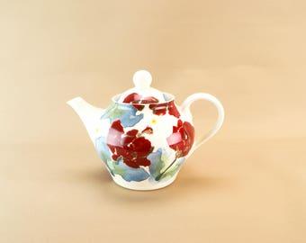 English Red Poppy Teapot Ceramic Globular Floral Bone China