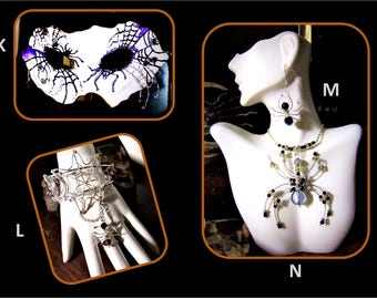 spider jewelry, web jewelry.Edward Gorey,gothic wedding cake topper,cake toppers,Halloween Wedding,Goth Wedding,skeleton,,Gothic wedding,