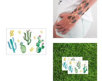 2 PACK Cactuses Tattoo 3x2