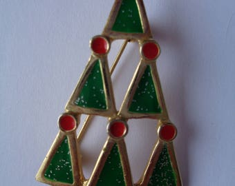 Vintage Signed AAI Goldtone/Multi Christmas Trees within Christmas Tree  Brooch/Pin