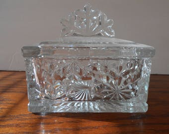 Clear Cut Glass Candy Dish with Lid