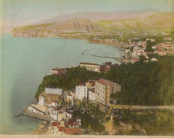 Sorrento Italy panorama antique hand tinted colored photo