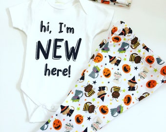 Newborn Halloween Outfit, Hi I'm New Here Baby Outfit, Coming Home Outfit | Baby Shower Gifts, Take Home Outfit, Take Baby Home Outfit