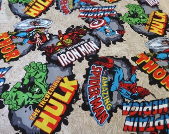 "Marvel Super Heroes curtain valance 41"" x 15"" in 100% cotton - Handmade New."