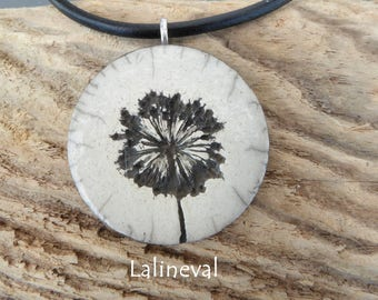 Crew neck, flowers #14 raku pendant Locket