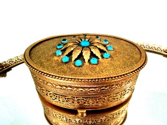 Apollo Ormolu Jewelry Casket, Apollo Studios Jewelry Box, Ornate Vanity Set, Blue Stones