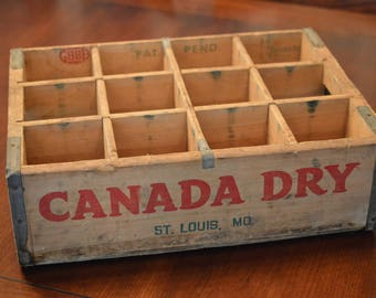 Canada Dry Soda Coke Wooden Crate With Dividers