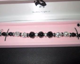 Audrey Hepburn BRACELET - Black and Crystal by Camrose & Kross - Sz 7 or 8