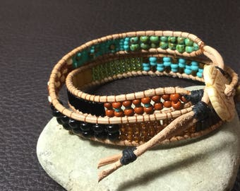 Natural leather beaded wrapped bracelet