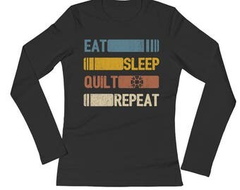 Eat Sleep Quilt Repeat Funny Vintage Retro Gift