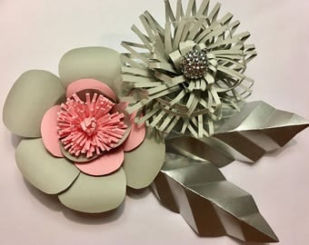 Soft pink grey and silver paper flowers