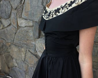 Black and Gold 1960's Dress with Beaded Off Shoulder Neckline