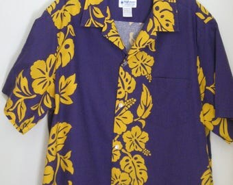 Hawaiian shirt, 1980s vintage High Noon, purple and yellow tropical print, USA, size extra large