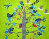 6.25x6.25 inch Card, Free Shipping, Tree of Life, Butterflies, Birds, Nature, Color, Happy, Joyful, Newborn, Kelly Burgess, Nova Scotia