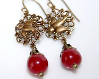Earrings * raspberry Jade and bird print *.
