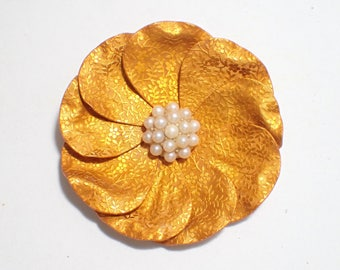 Orange Embossed Metal Large Flower Brooch