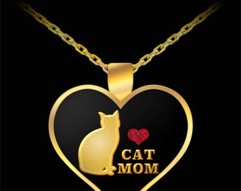 Cat Mom Mother's Day Gift Necklace Heart Animal Lover (Choice of Metal)