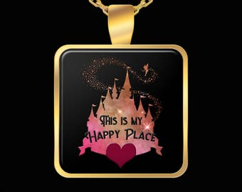 Disney My Happy Place Gift Necklace Castle Disneyland (Choice of Metal)