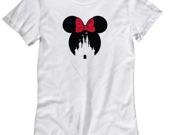 Magic Castle Mouse Shirt for Women Gift Red Bow Love Fan Fanatic Magical Shirts