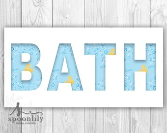 BATH Word Art with Bubbles & Yellow Rubber Ducks, Kids Bathroom Sign, Kids Bathroom Wall Art, Kids Bathroom Wall Decor - Poster