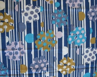 Funky fabric, psychedelic blue white striped fabric with pink, mustard, blue and turquoise flowers