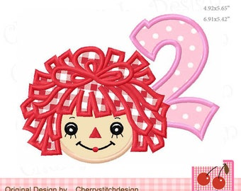 "Raggedy Ann Number 2  Machine Embroidery Applique Design - 5x5"", 6x6"", 7x7"""