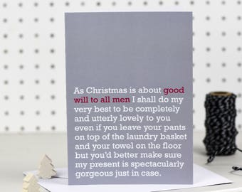 Good Will To All Men - Christmas Card