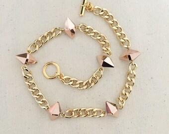 Double Wrap Spike Bracelet- in Rose Gold & Gold Hardware