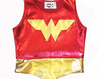 Girls wonder woman TOP only 4th of july  blue and red gold metallic halloween