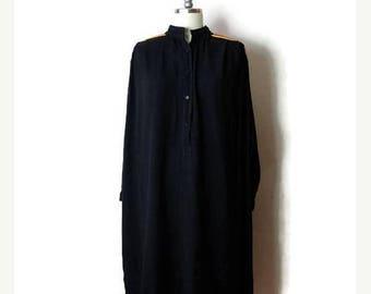 ON SALE Vintage Black x Embroideries Long Sleeve Tunic Cotton Dress /Hippies/boho *