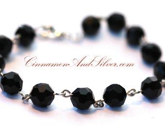 Black Jet Beaded Bracelet, Black Glass Bead Bracelet, Linked Bead Bracelet, Simple Black Bracelet, Classy Beaded Black Bracelet