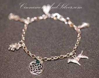 Celtic Irish Charm Bracelet for St. Patrick's Day, Silver Tone Irish Charm Bracelet, Saint Patrick's Day Silver Charm Bracelet