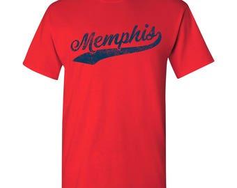 Memphis City Script T-Shirt - Red