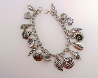 Sea Shell Charm Bracelet, Life is a Beach, Beach Themed charm bracelet, Beach Jewelry, Ocean charm bracelet, Gift for her, I Love the Beach