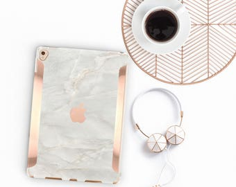 "White Onyx Marble iPad Case and Rose Gold Detailing iPad Pro 9.7 / iPad Pro 10.5"" Smart Keyboard compatible Hard Case - Platinum Edition"