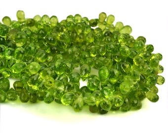 20% OFF Peridot Teardrops Beads 8x6mm Faceted Briolette Drops Beads 8 Inch Full Strand (DRPT-70026)