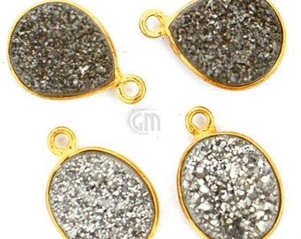 30% OFF 8pc Lot Platinum Druzy Connector, 12x8mm, Bezel Mix Shape 24k Gold Plated Gemstone Link Connector/Pendant(MX-11005)